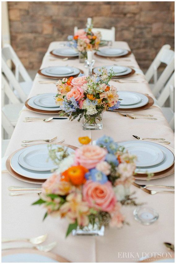 bright summer floral centerpieces