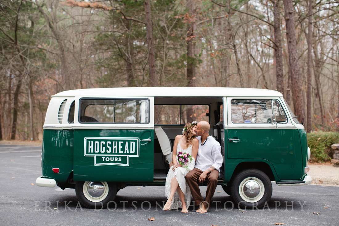 Relaxed couple kissing inside a VW bus | Northwest Arkansas Wedding Photography by Erika Dotson Photography