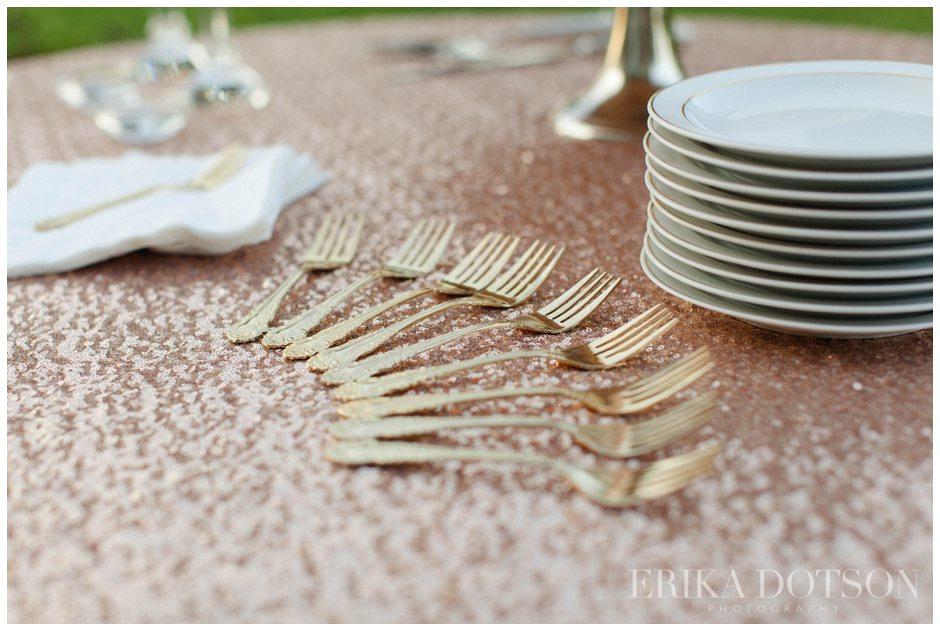 gold cake forks on rose gold sequin tablecloth
