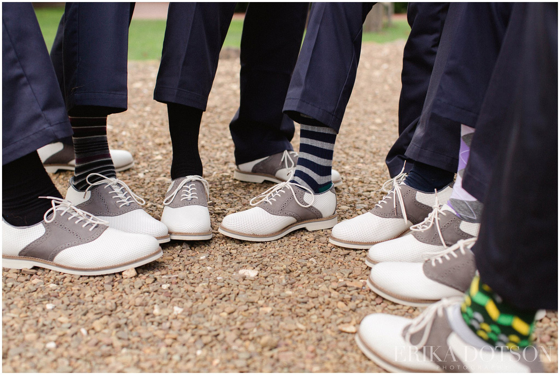 Trendy mens shoes and socks at a southern wedding