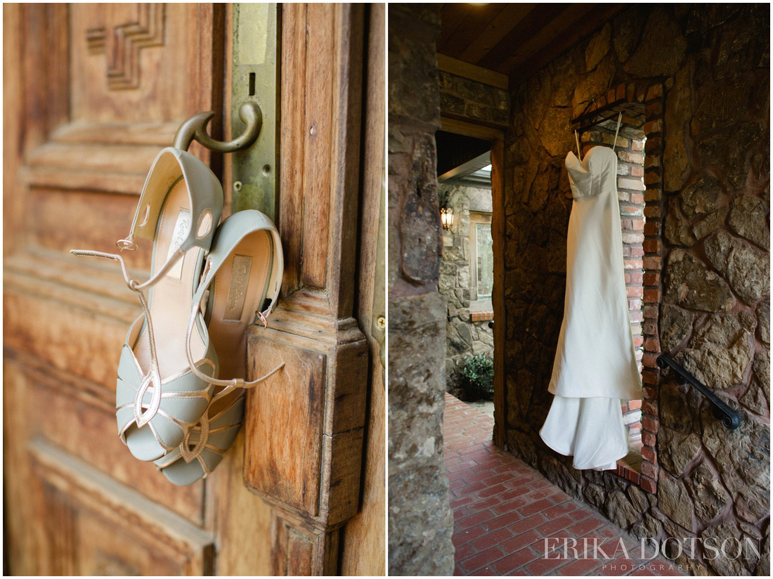 Vintage wedding shoes and modern wedding gown at matt lane farm