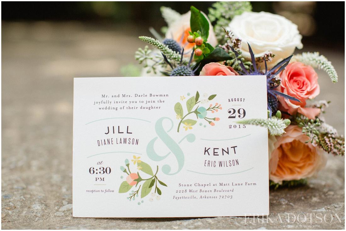 Custom aqua and coral  wedding stationary and beautiful florals at Matt lane farm
