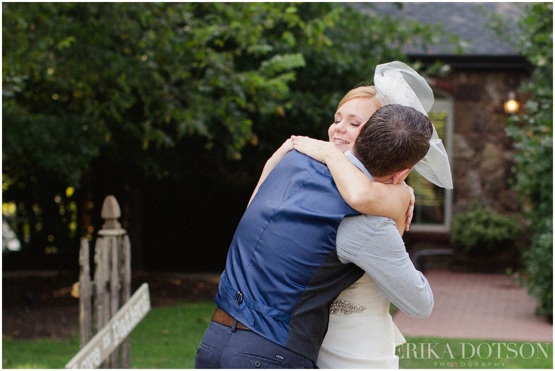 romantic moment during first look at a northwest arkansas wedding