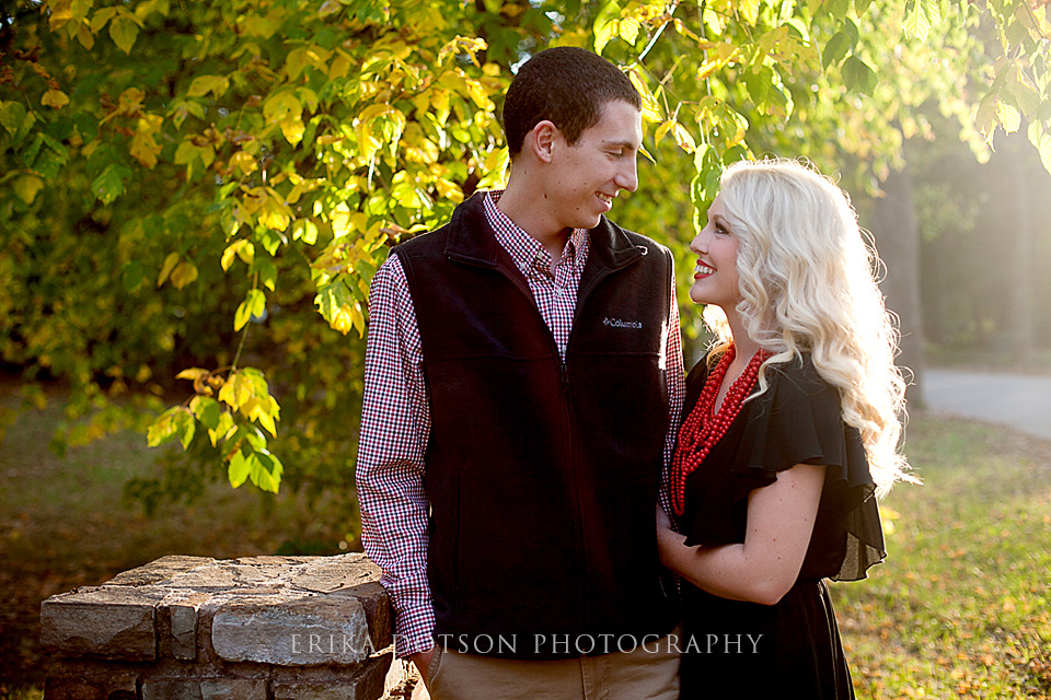 Sunlit engagements at gulley park in fayetteville arkansas by erika dotson photography