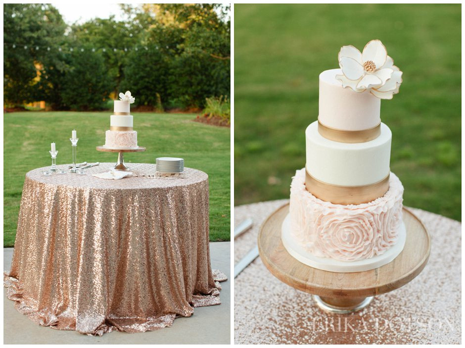 rose gold sequin cake table with gorgeous gold and pink wedding cake and sugar flower