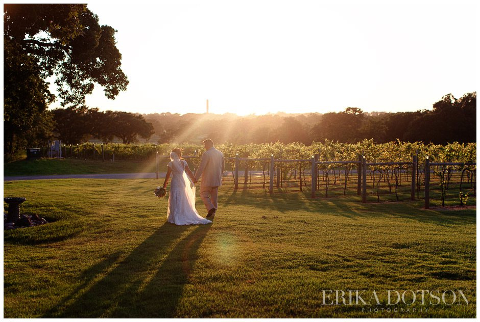 sunset at riley vineyards with southern wedding couple