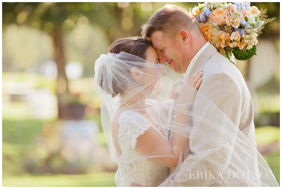 Romantic wedding couple with long veil
